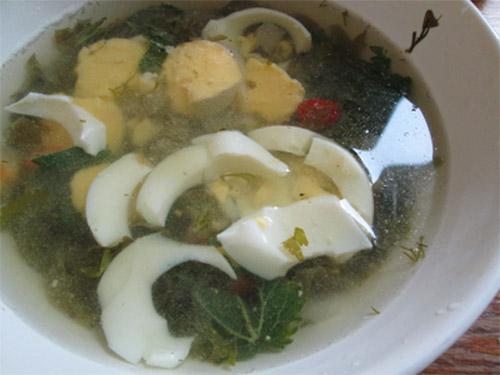 зеленый борщ с крапивой